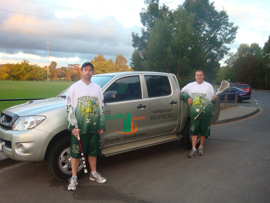 Travis and Clinton, members of the Australia Indoor Lacrosse Team 2011